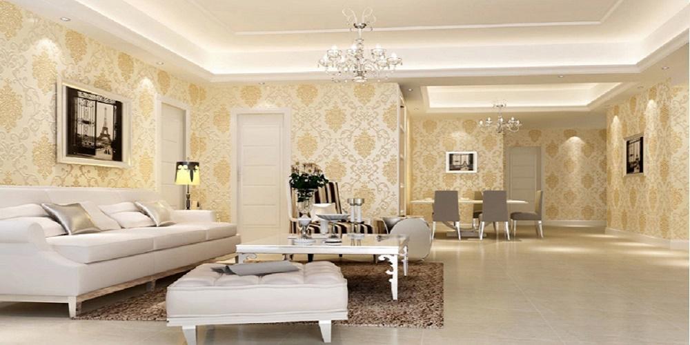 Ảnh trang trí phòng khách với giấy dán tường