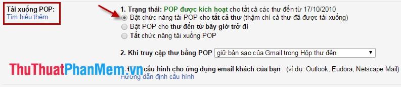 Bật chức năng tải POP