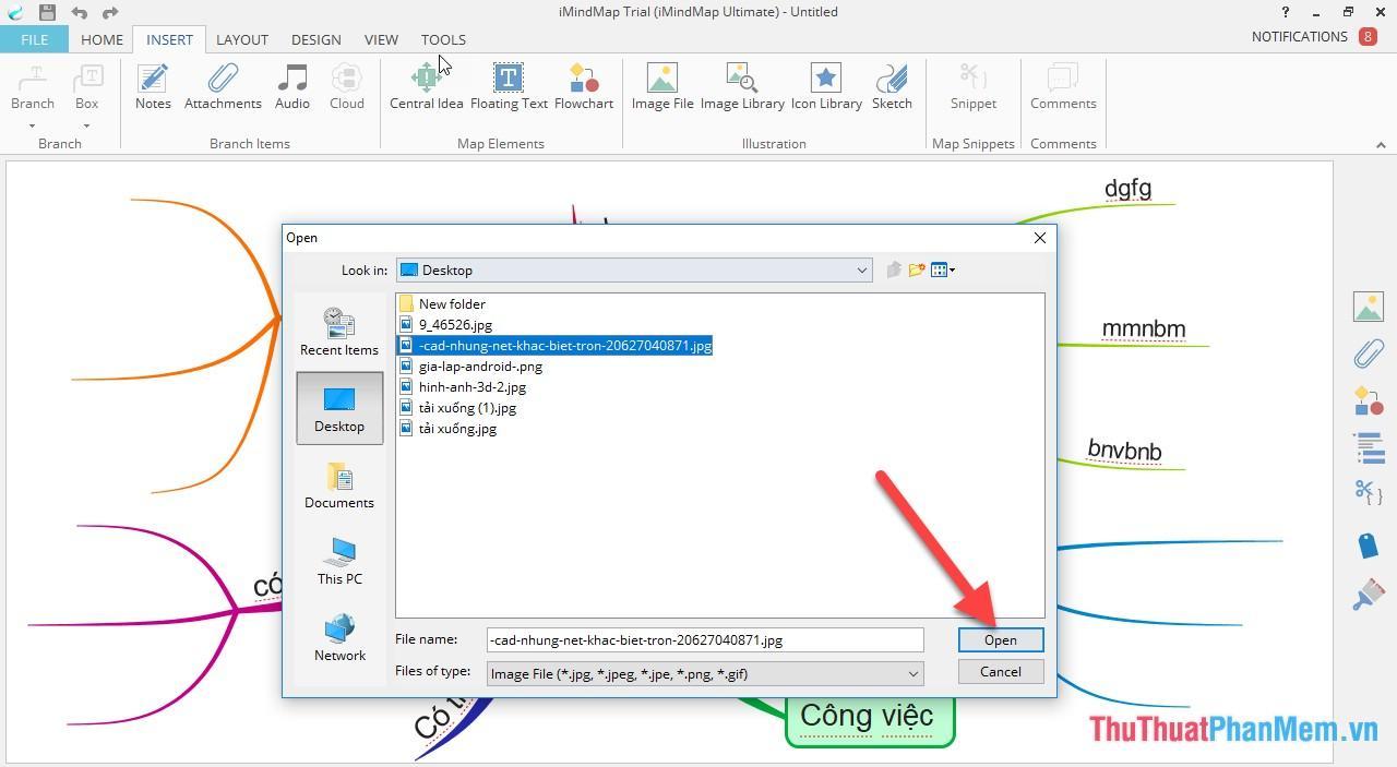 Chèn hình ảnh minh họa cho sơ đồ vào thẻ Insert - Image File