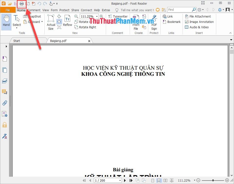 Chọn biểu tượng máy in ở trên thanh công cụ file PDF
