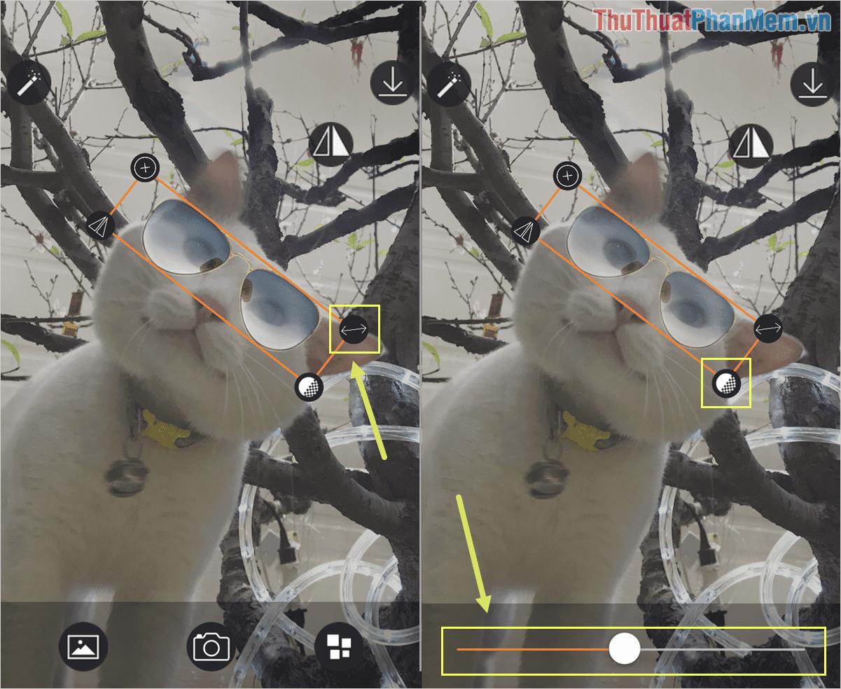 Chọn biểu tượng Opacity để điều chỉnh độ trong suốt của mắt kính