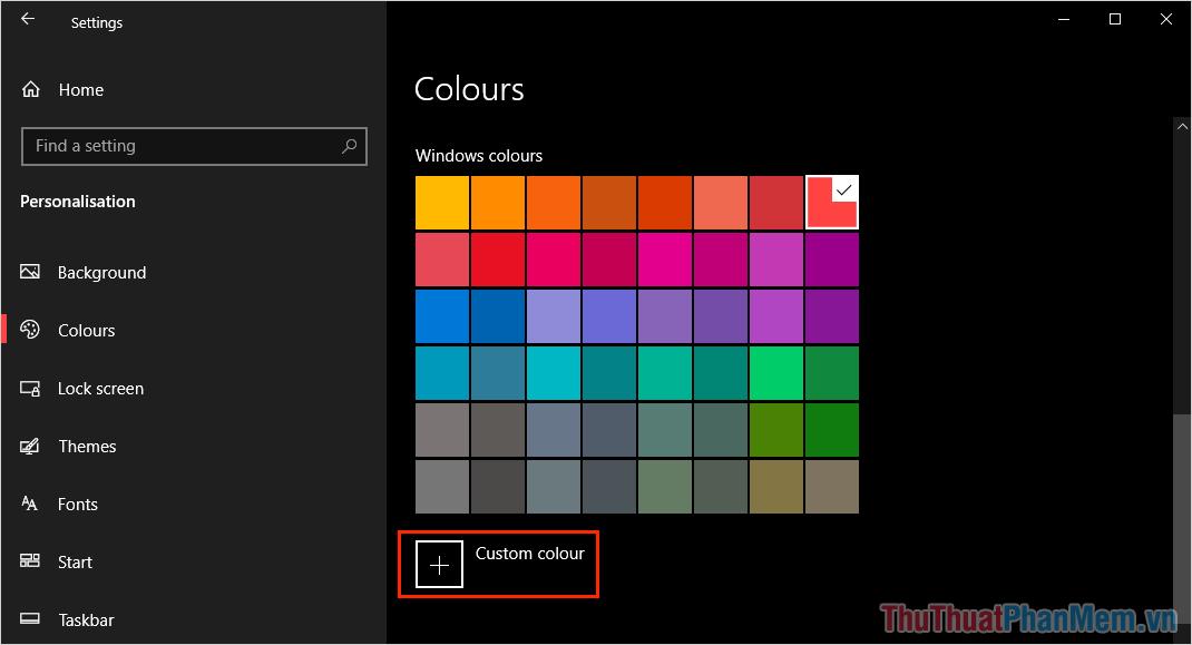 Chọn Custom Colour và tìm màu mong muốn