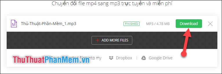 Chọn download để tải file MP3 về máy tính của mình
