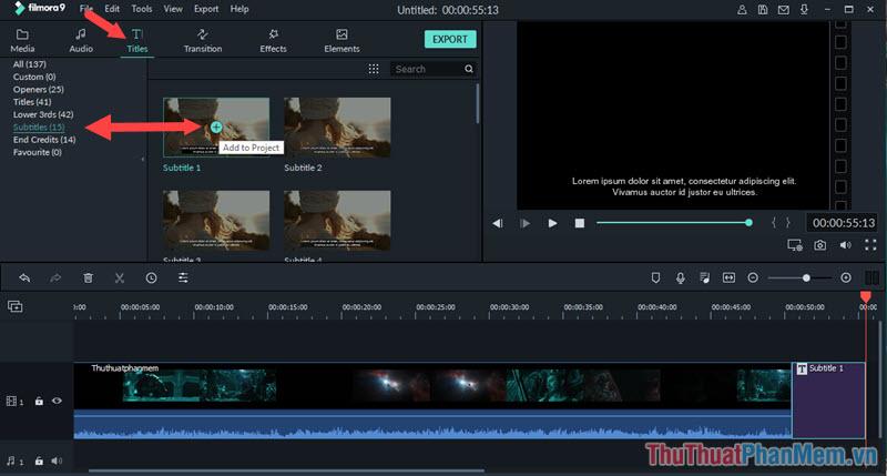 Chọn kiểu Subtitle ưng ý rồi bấm vào dấu cộng (+) để thêm văn bản vào video