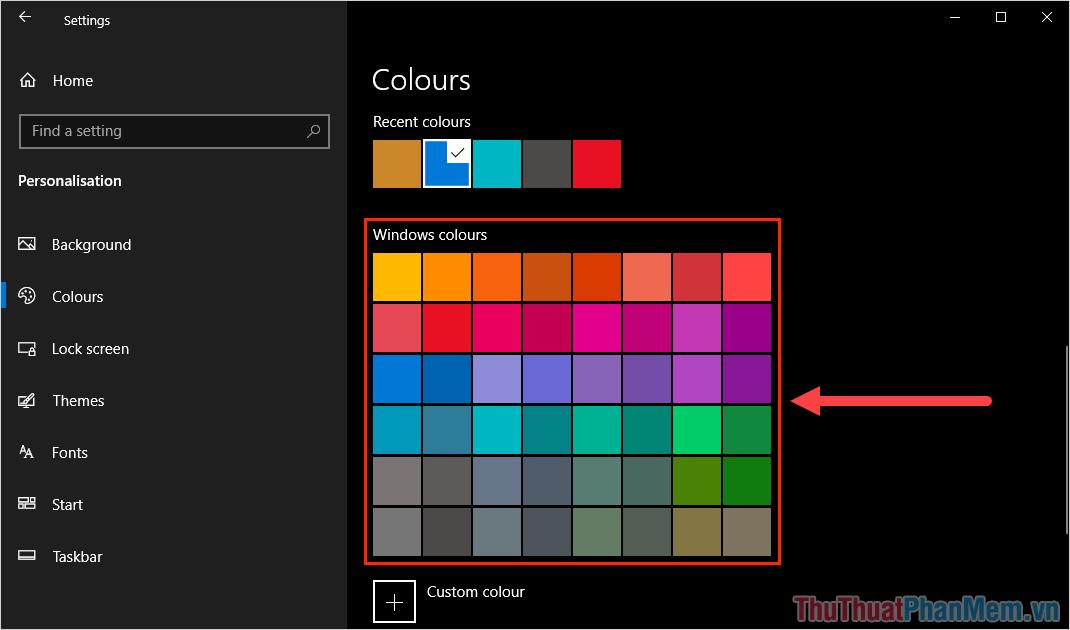 Chọn màu sắc trong mục Windows Colours để thay đổi màu sắc của thanh Taskbar