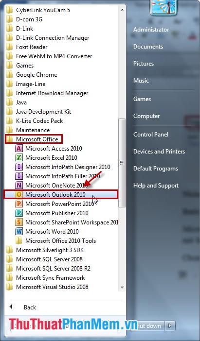 Chọn Microsoft Outlook