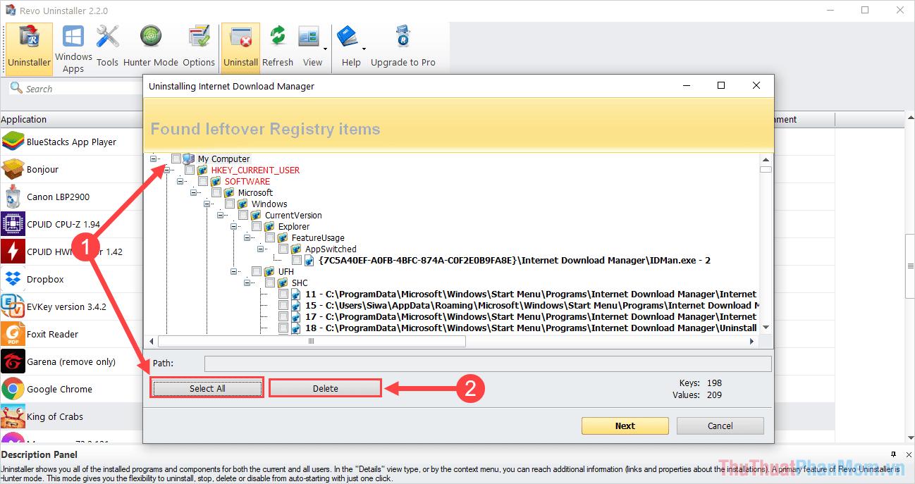 Chọn mục My Computer hoặc Select All để chọn tất cả và nhấn Delete