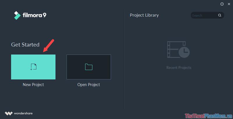 Chọn mục New Project để tiến hành tạo 1 file dự án mới