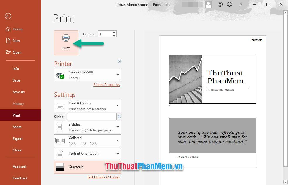 Chọn Print để bắt đầu in ấn