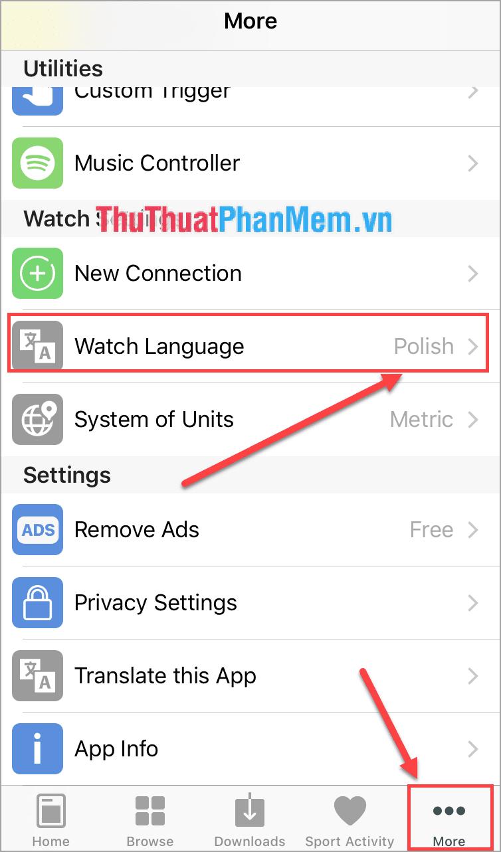 Chọn Watch Language thành Polos