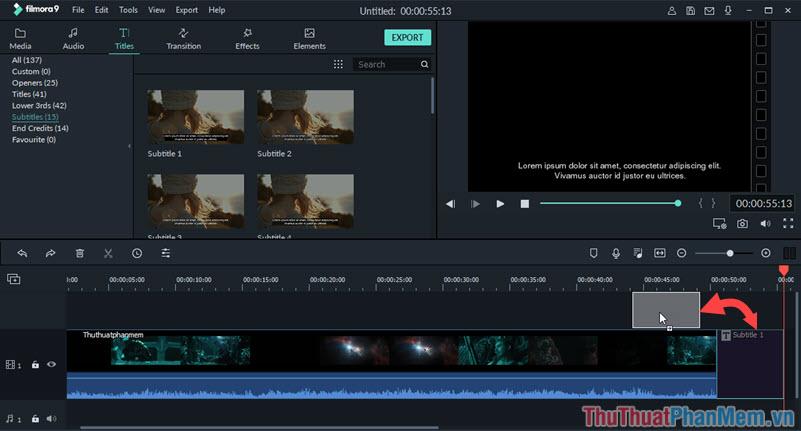 Di chuyển Subtitle mới tạo lên trên