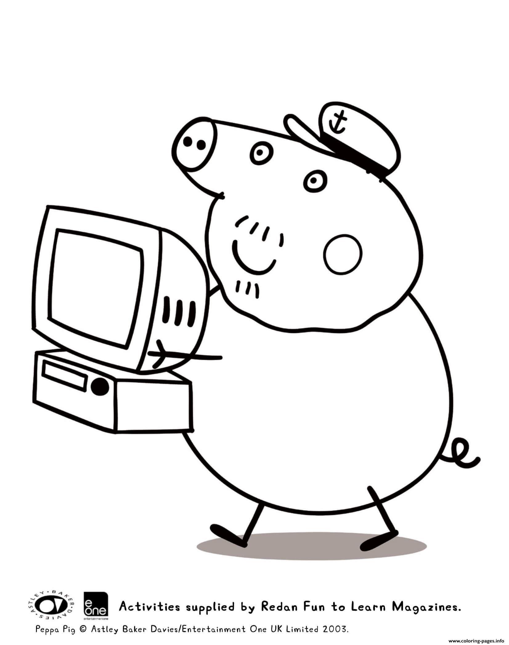 Hình ảnh heo Peppa bê máy tính