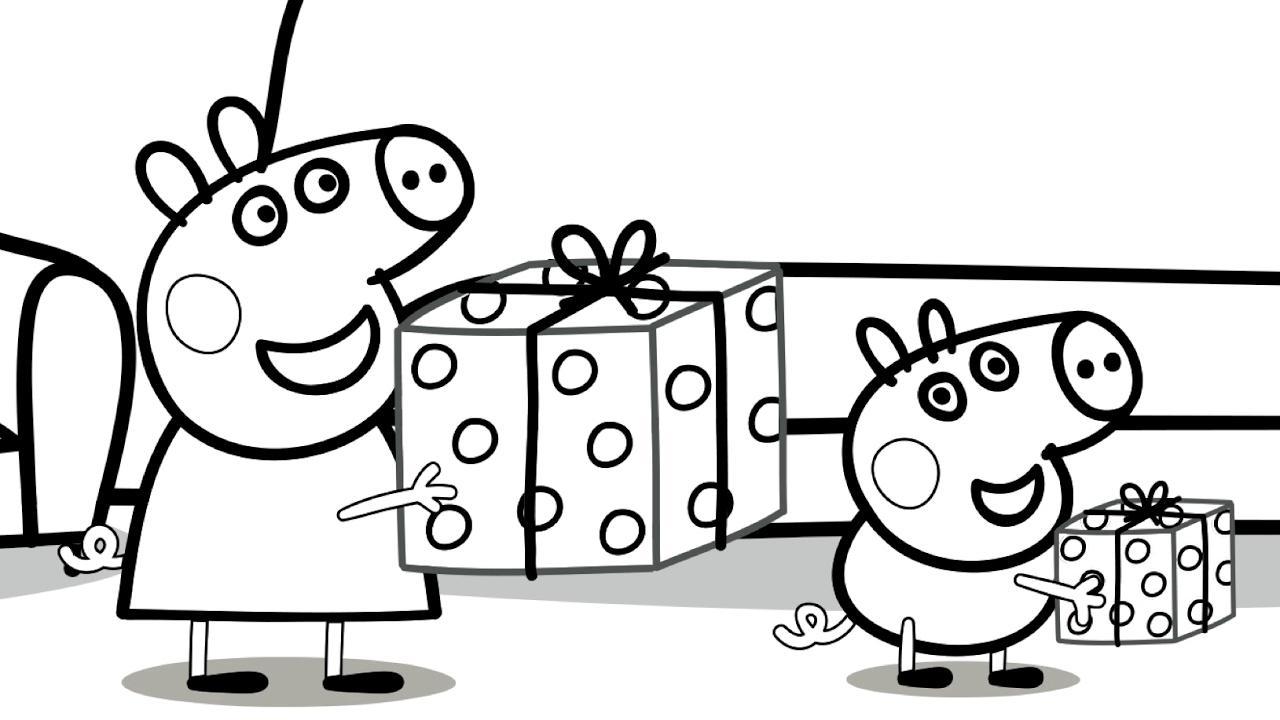 Hình ảnh heo Peppa ôm hộp quà cực đẹp