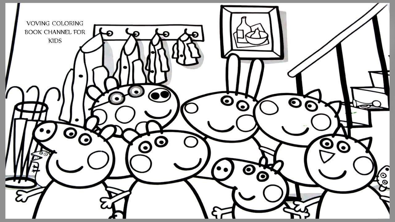 Hình ảnh tô màu đại gia đình của chú heo Peppa