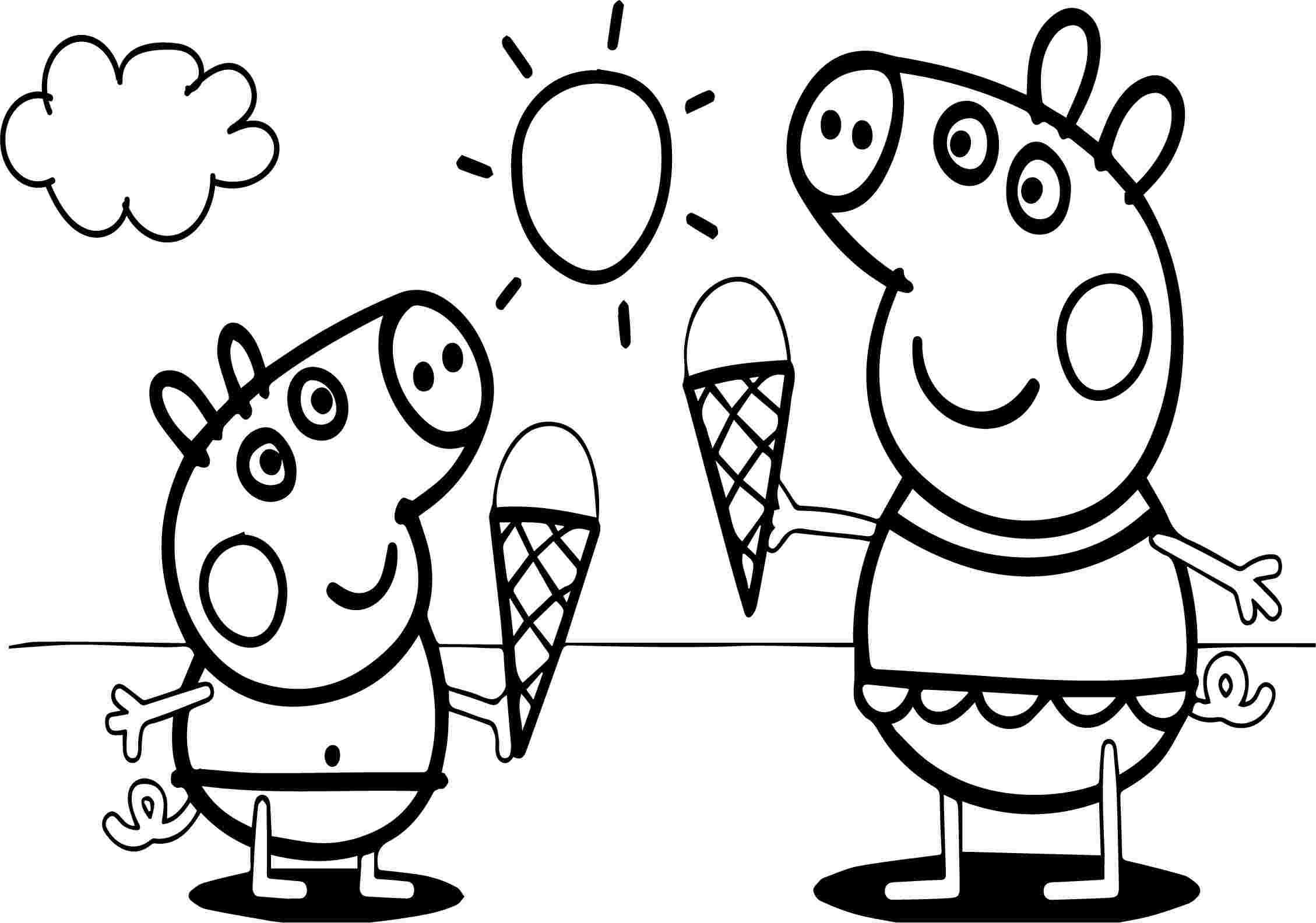 Hình ảnh tô màu heo Peppa ăn kem