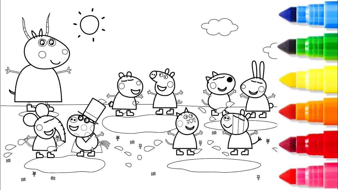Hình ảnh tô màu heo Peppa đi picnic cực đẹp