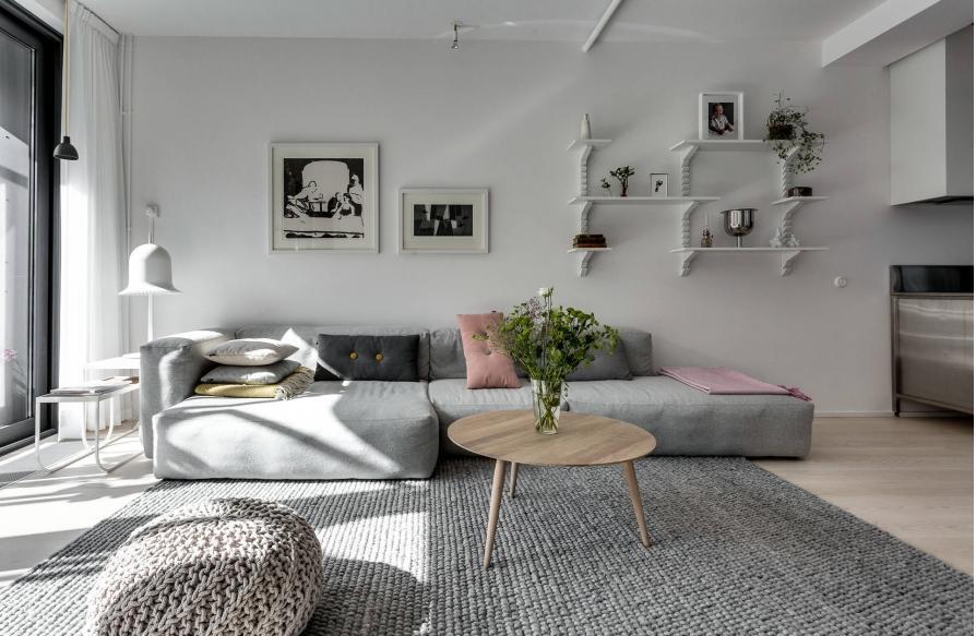 Hình ảnh trang trí phòng khách màu sáng