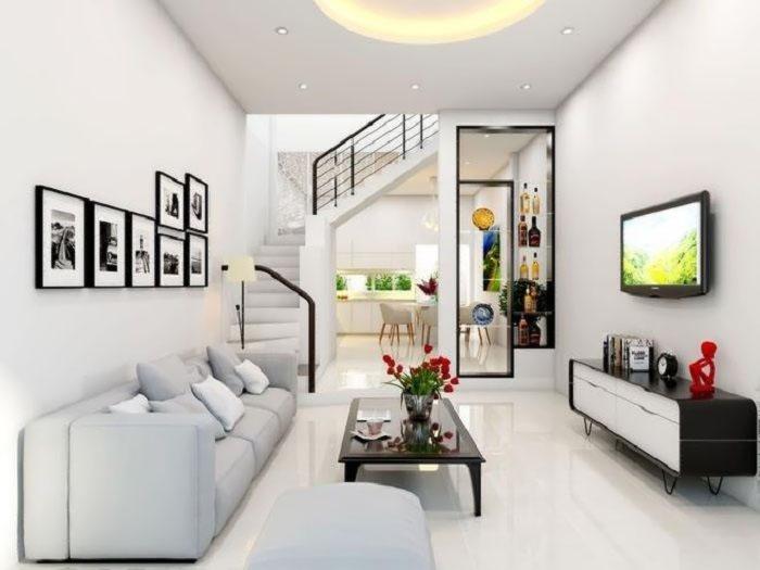 Hình ảnh trang trí phòng khách với cầu thang