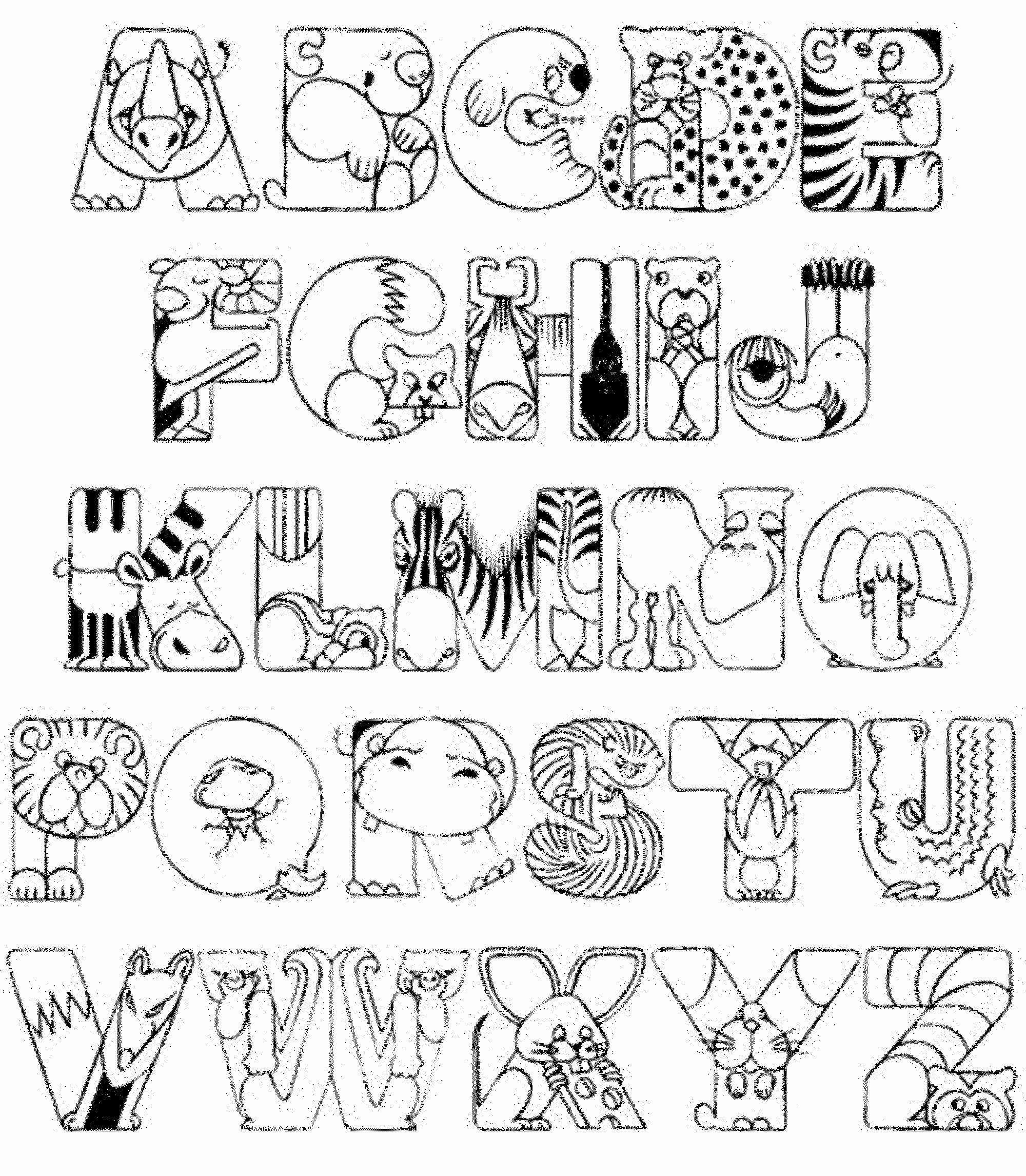 Hình ảnh tranh tô màu chữ cái mô tả hình thú