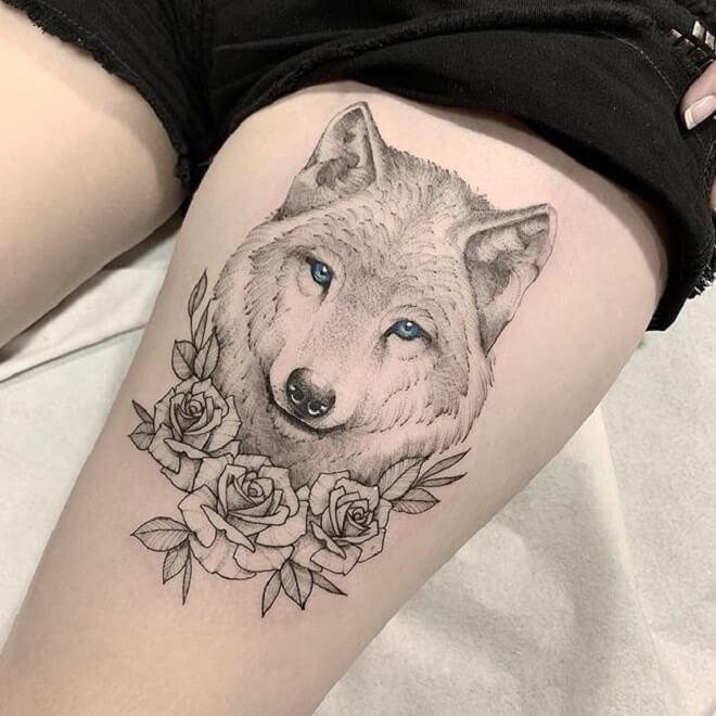 Hình Tattoo chó sói đẹp