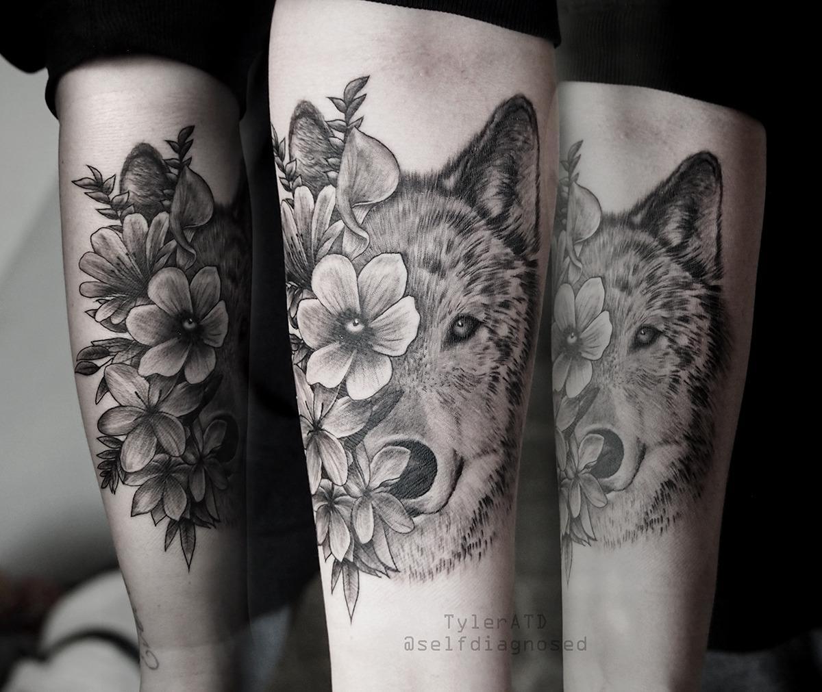 Hình Tattoo chó sói