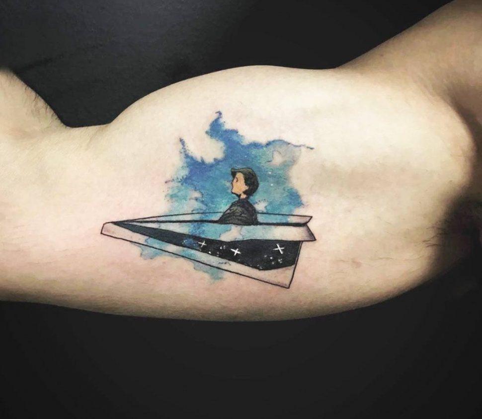 Hình Tattoo máy bay ý nghĩa