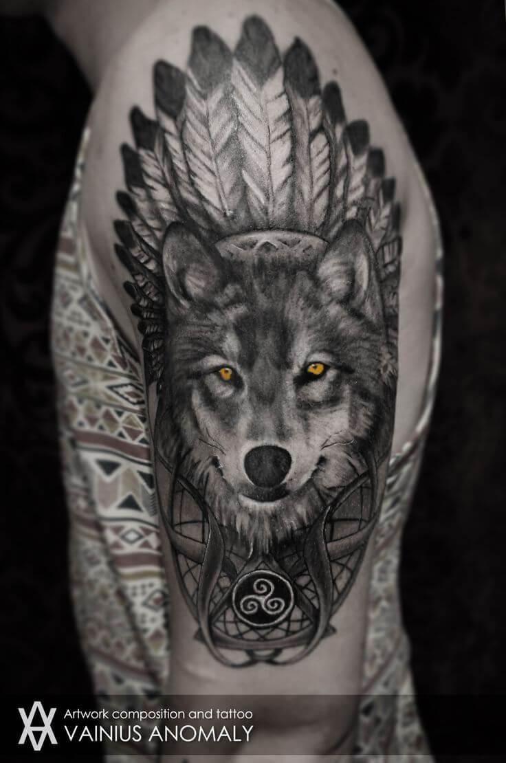 Hình xăm chó sói đáng sợ