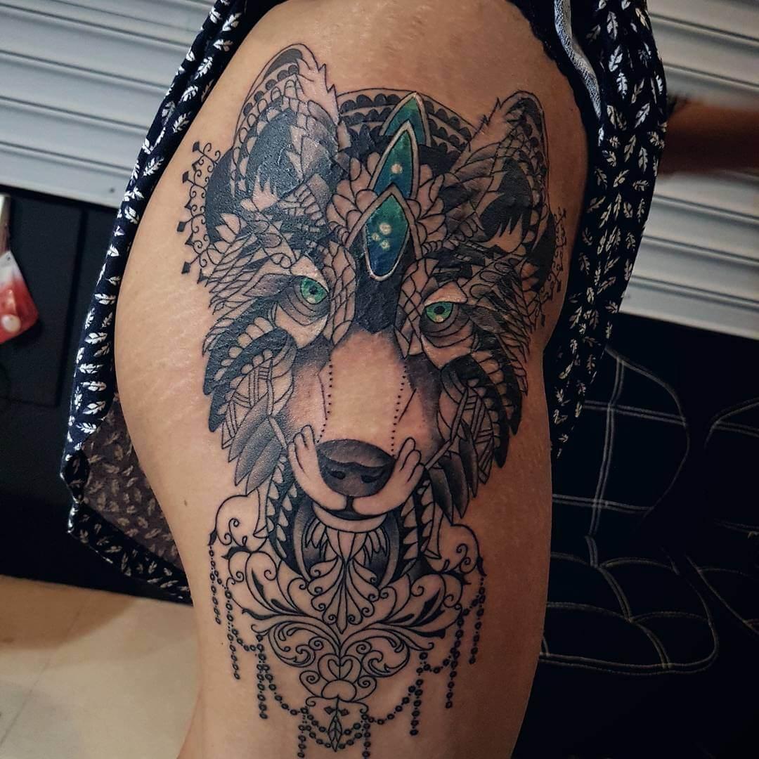 Hình xăm chó sói dễ thương nhất