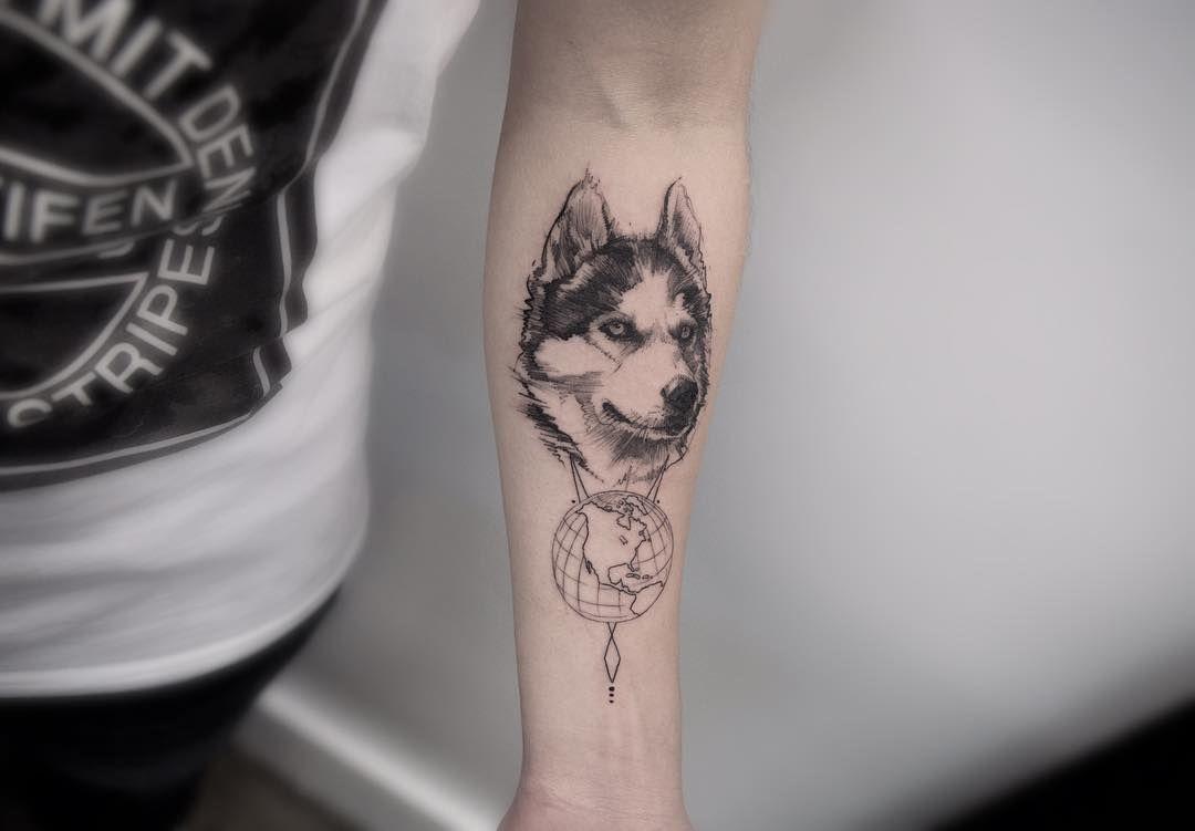 Hình xăm chó sói mini