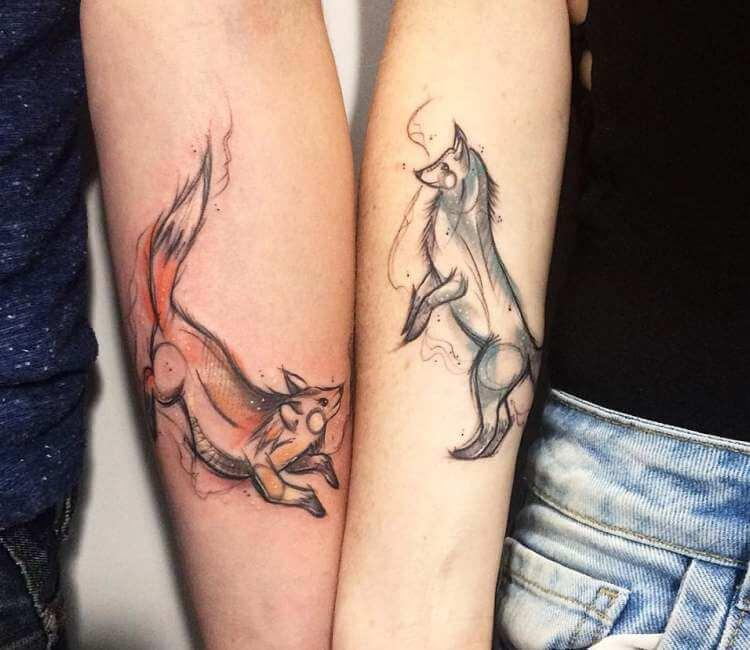 Hình xăm sói đôi