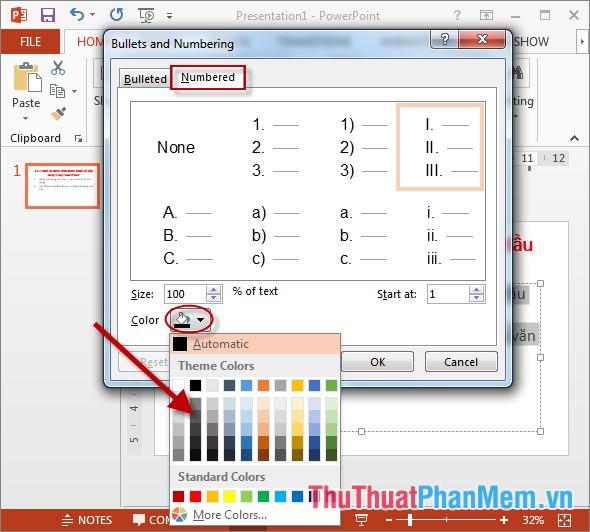Lựa chọn màu sắc cho số đầu dòng trong mục Color