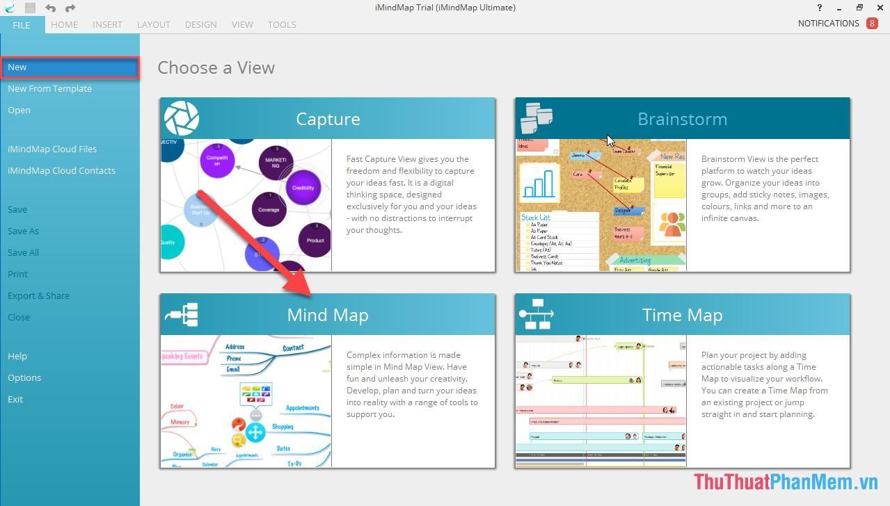 Mở phần mềm iMind Map - kích chọn Mind map