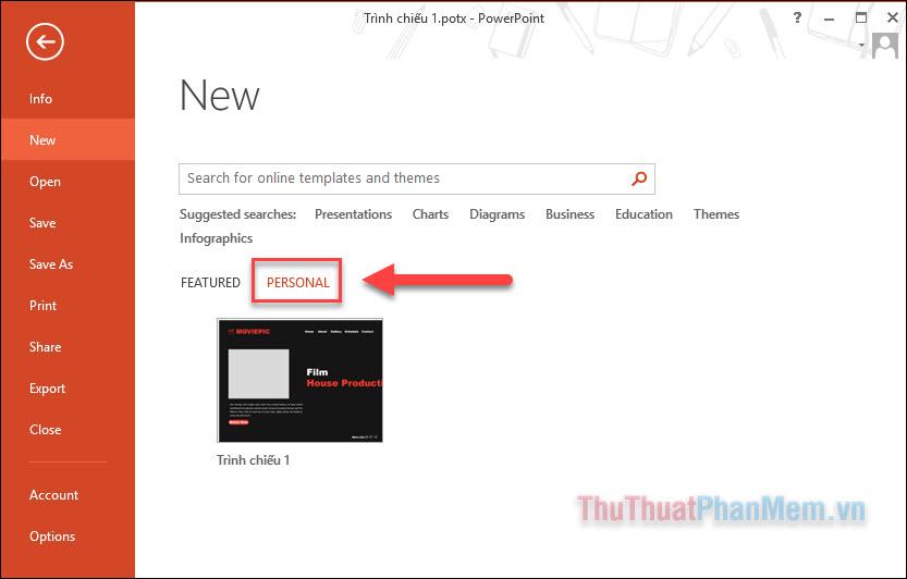 Mở PowerPoint, tại mục New, bạn nhấn vào PERSONAL