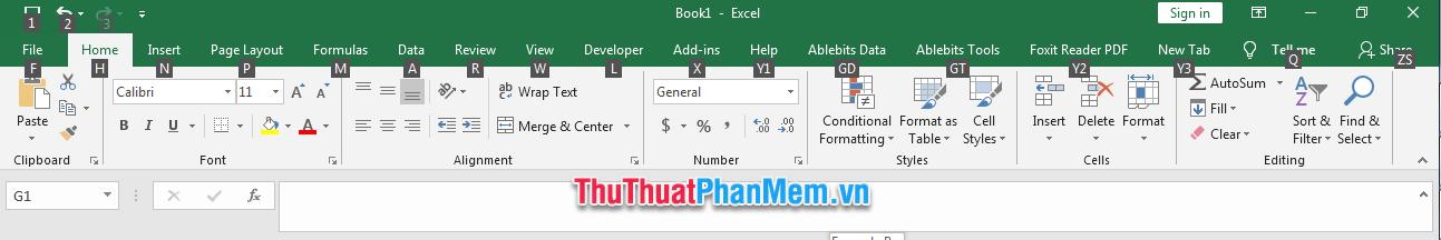 Nhấn và giữ phím ALT thanh Ribbon của Excel sẽ hiện ra các ô vuông màu đen có ký tự