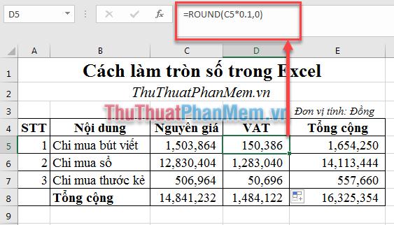 Sử dụng hàm ROUND để làm tròn số