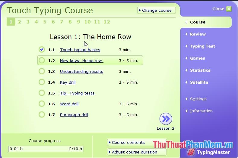 Sử dụng phần mềm Typing master để luyện tập gõ