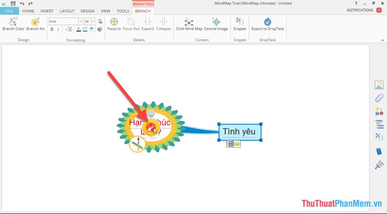 Tạo nhánh: Kích chọn biểu tượng ở vị trí trung tâm của Central idea -> nhấn giữ chuột trái di chuyển tới vị trí muốn tạo nhánh -> nhập từ khóa cho nhánh mới tạo