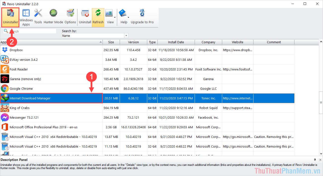Tìm đến Internet Download Manager và chọn Uninstall