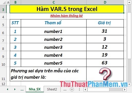 Tính phương sai dựa trên mẫu của các giá trị number