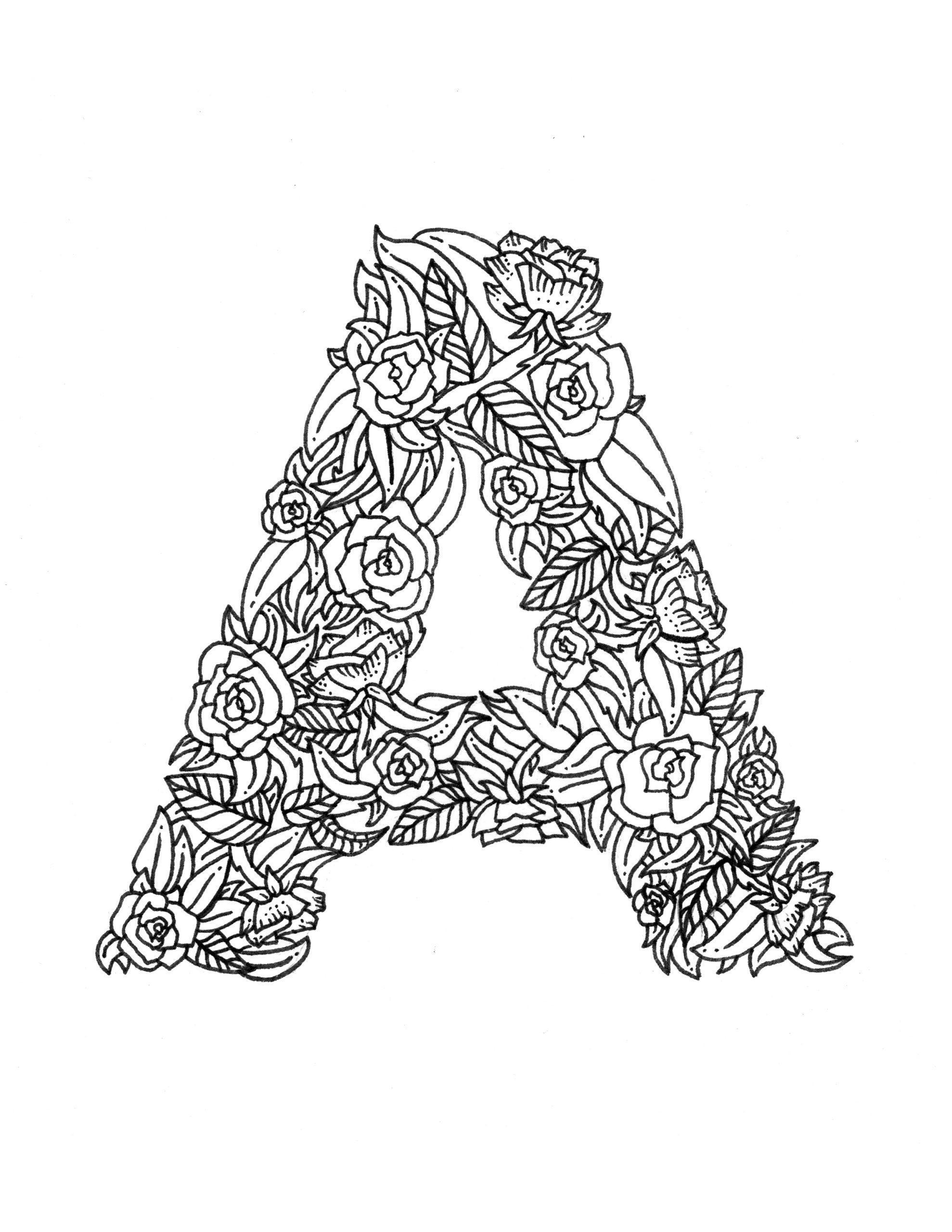Tranh tô màu bảng chữ cái chữ A hoa lá cành