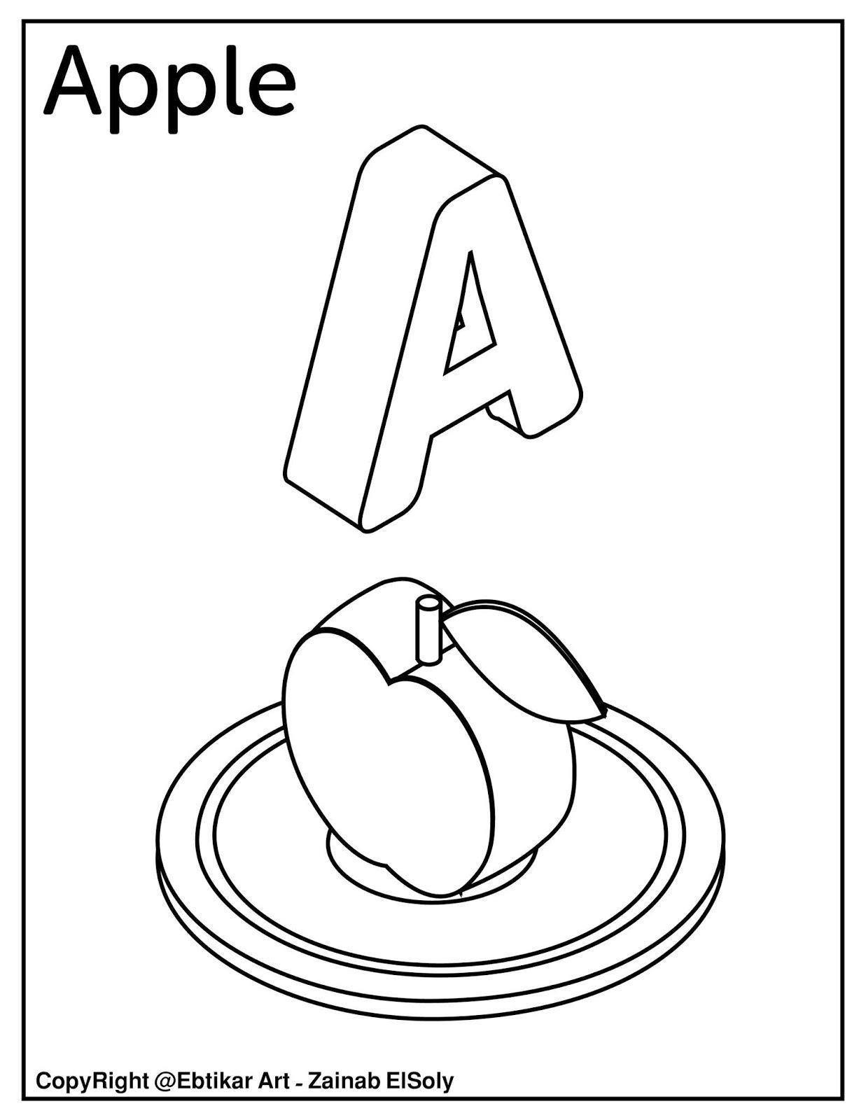Tranh tô màu chữ cái A apple đẹp