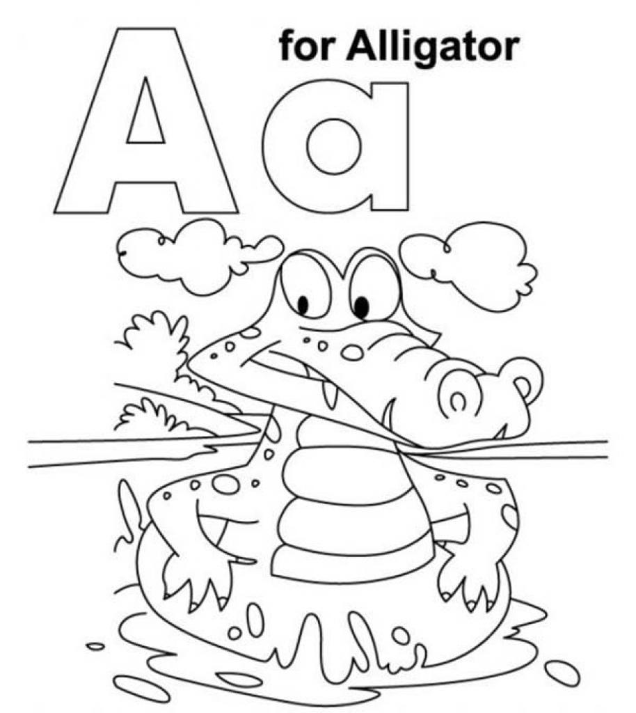 Tranh tô màu chữ cái A con cá sấu