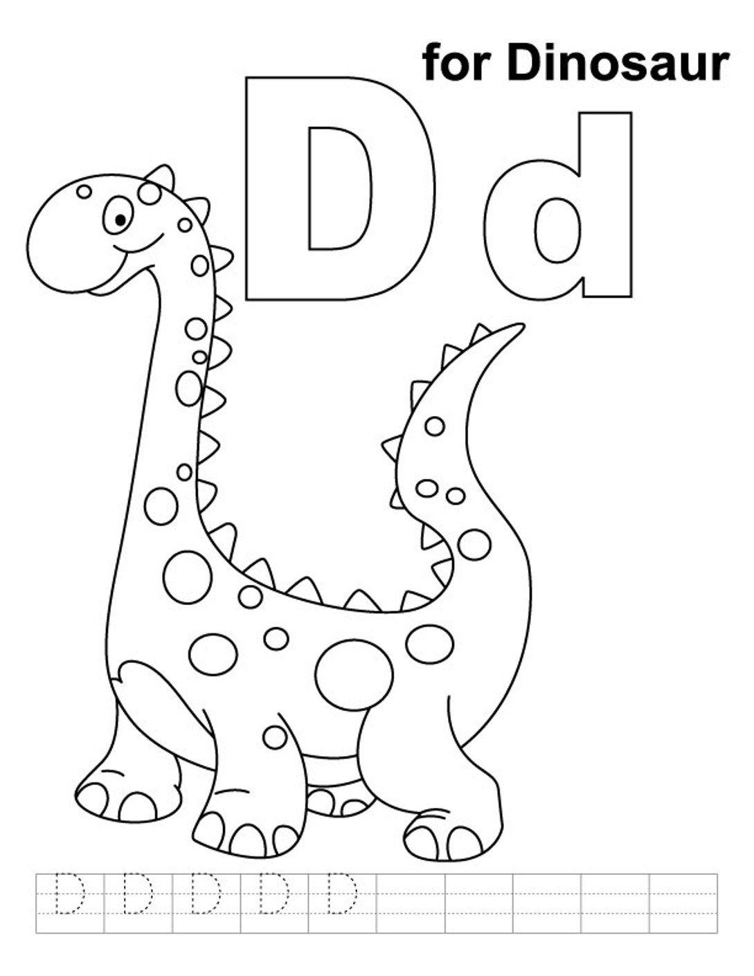 Tranh tô màu chữ cái D con khủng long