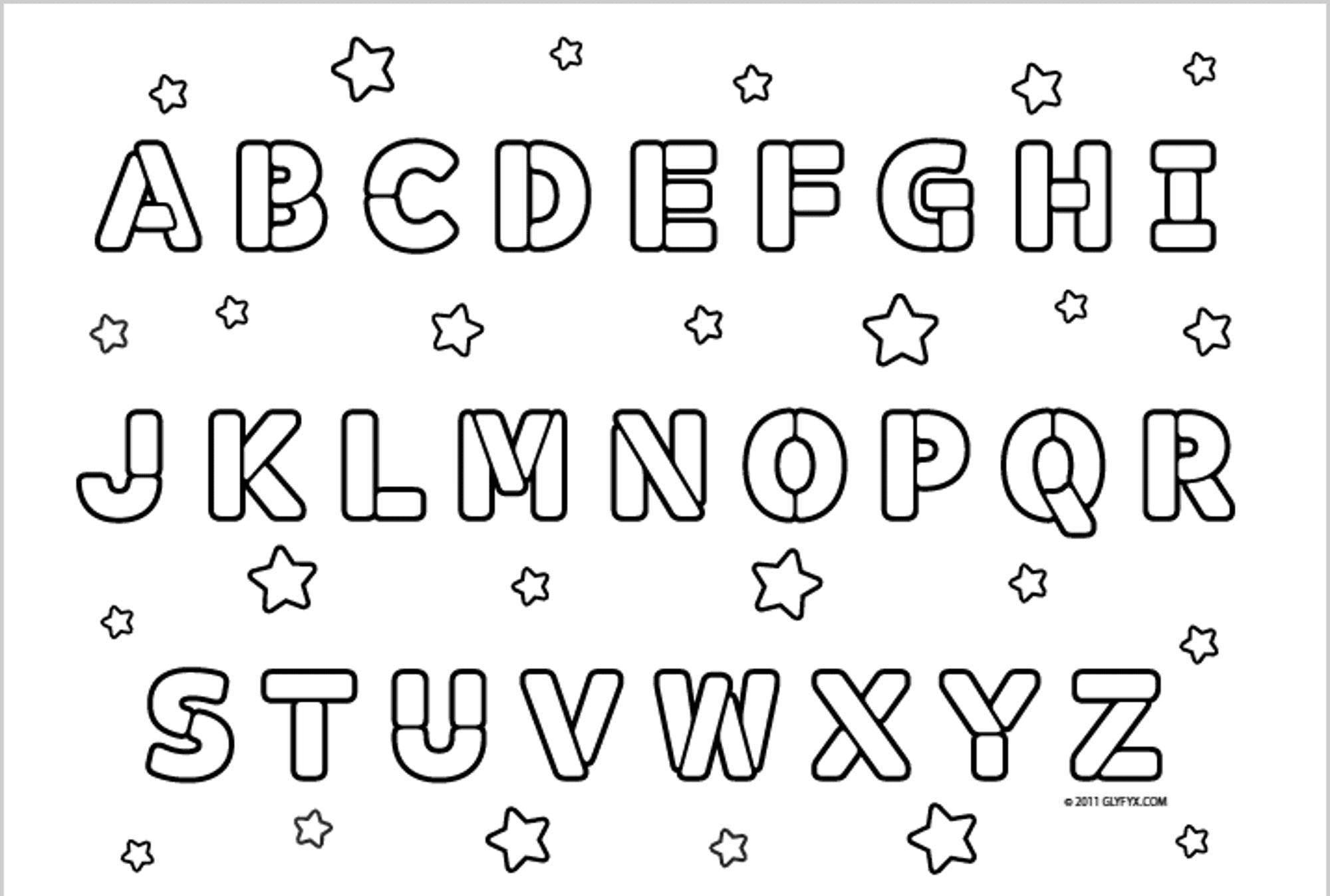 Tranh tô màu chữ cái ngôi sao các kiểu