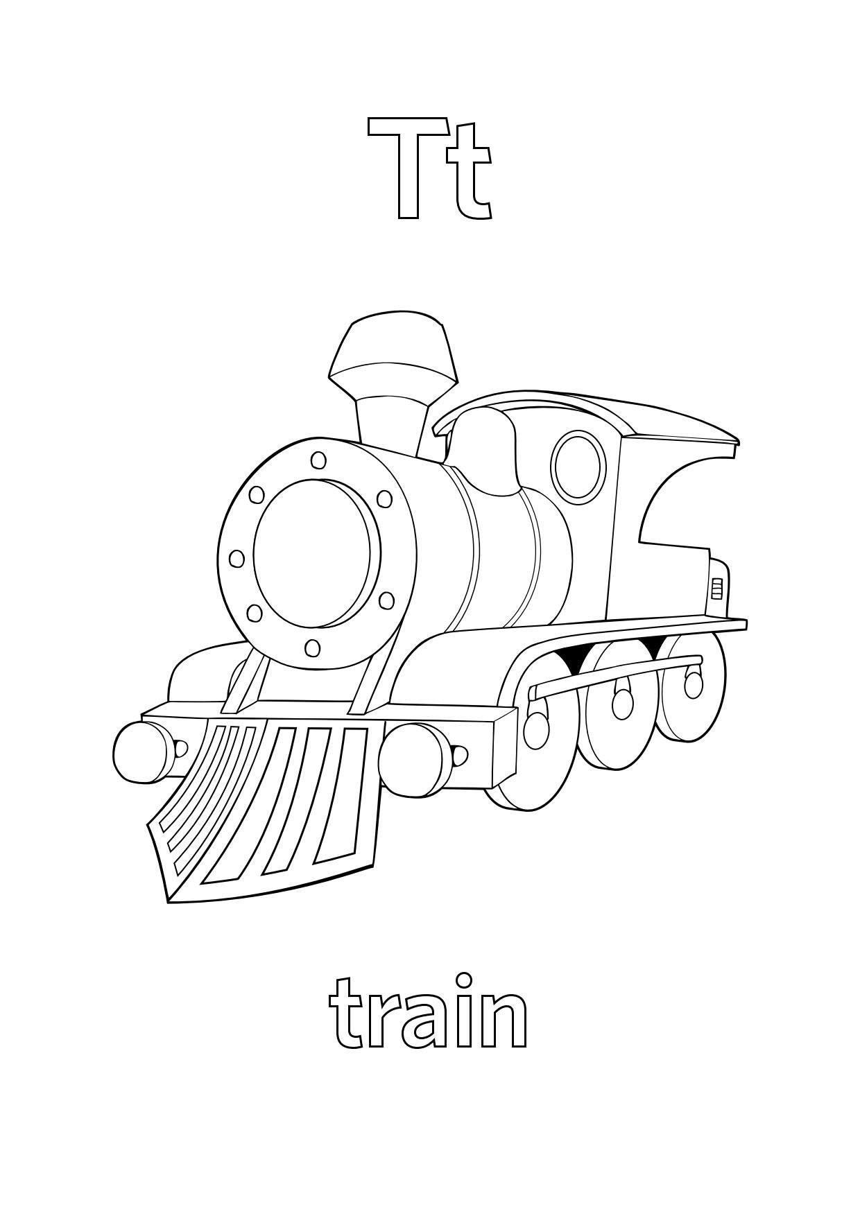 Tranh tô màu chữ cái T train con tàu