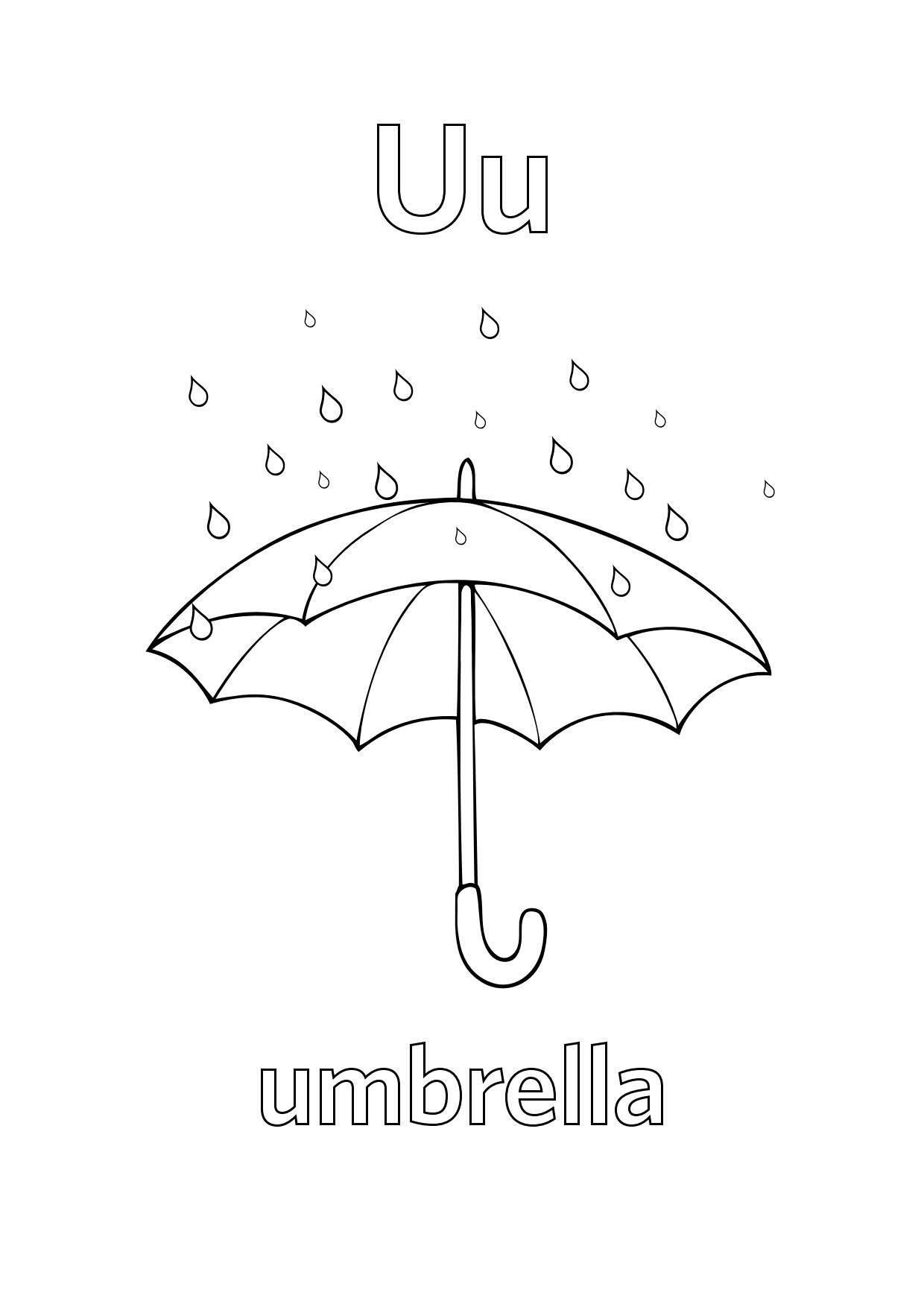 Tranh tô màu chữ cái U ô che mưa
