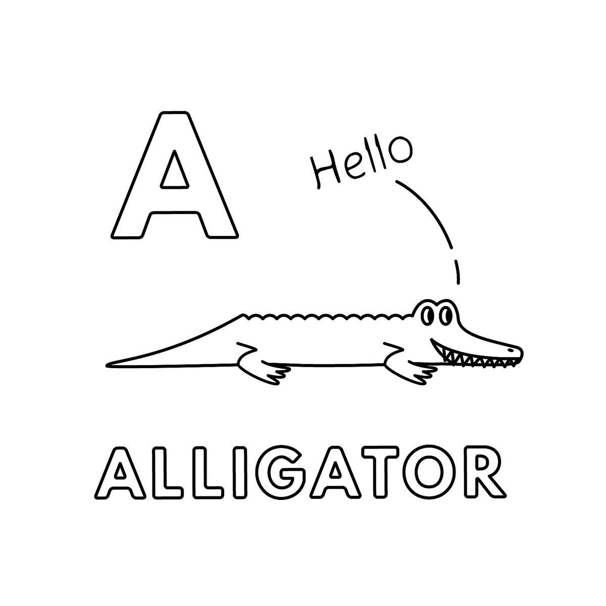 Tranh tô màu con cá sấu chữ cái A