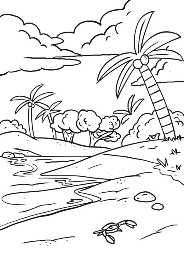 Tranh tô màu phong cảnh biển đẹp cho bé