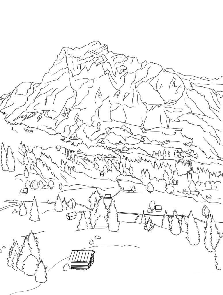Tranh tô màu phong cảnh rừng núi cho bé