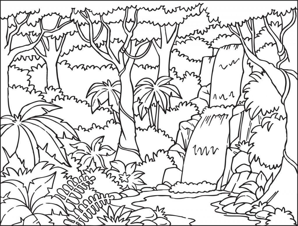 Tranh tô màu phong cảnh thiên nhiên rừng cho bé